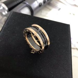 BVLGARI 宝格丽黑陶瓷三环戒指
