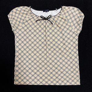 Burberry 博柏利经典格纹蝴蝶结弹力灯笼袖短袖