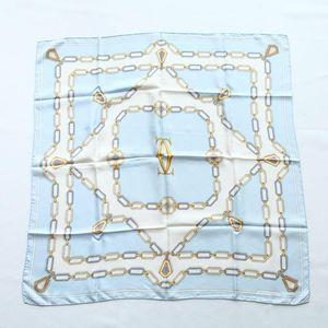 Cartier 卡地亚FJ08031水蓝链条图案重磅真丝丝巾