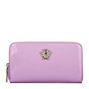 Versace 范思哲淡紫色漆皮长款钱夹