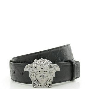Versace 范思哲美杜莎男士真皮压纹皮带平滑扣腰带