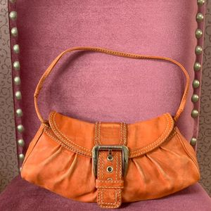 Celine 赛琳橘色牛皮手提包