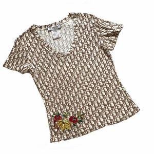 Dior 迪奥花刺绣半袖T恤上衣
