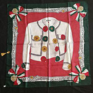 Moschino 莫斯奇诺FJ05002红绿边礼服印花大丝巾
