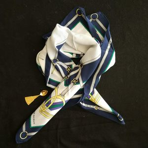 BALMAIN 巴尔曼FJ05036蓝白骑术风大丝巾