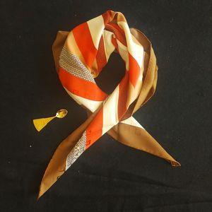 GIVENCHY 纪梵希FJ05052红棕条纹双G logo重磅大丝巾