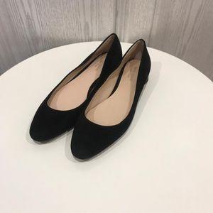 Kate Spade 凯特·丝蓓黑色翻毛皮心形跟平底鞋