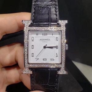 Hermès 爱马仕H hours系列经典H表盘后镶钻石英腕表
