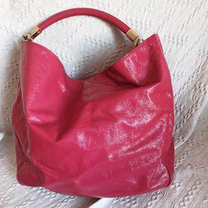 Yves Saint Laurent 伊夫·圣罗兰玫红色漆皮手提包