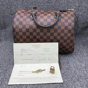 Louis Vuitton 路易·威登棕棋盘speed30手提包
