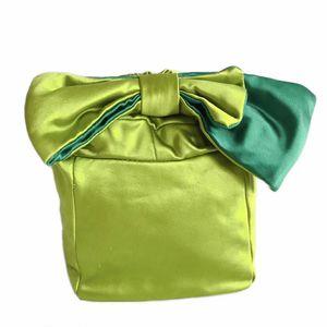 Kate Spade 凯特·丝蓓苹果绿蝴蝶结手提水桶包