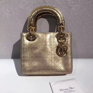 Dior 迪奥香槟金色三格Lady单肩包