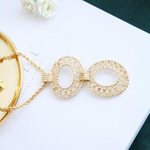 Dior 迪奥XL08111艺术花吊坠环粗金丝项链毛衣链锁骨链