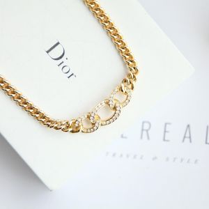 Dior 迪奥闪钻艺术环坠粗金丝项链锁骨链项链