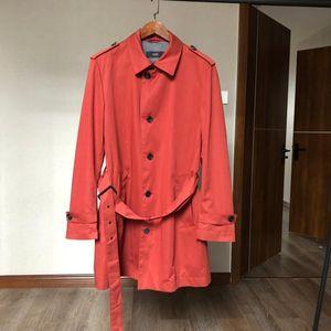 HUGO BOSS 雨果博斯男士红色长款风衣