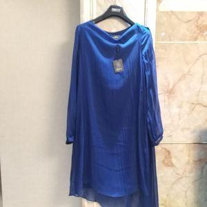 Marisfrolg 玛丝菲尔宝蓝色长袖真丝连衣裙