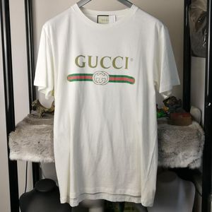 GUCCI 古驰白色做旧刺绣短袖T恤