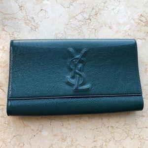 Yves Saint Laurent 伊夫·圣罗兰孔雀绿大号漆皮手拿包