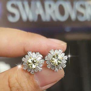 SWAROVSKI 施华洛世奇19新款银色太阳花水晶耳环