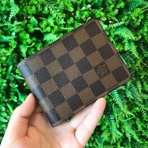 Louis Vuitton 路易·威登棕色棋盘格对折男士钱夹N60895