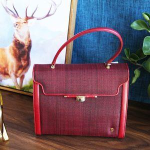 BALLY 巴利ST12034酒红色配皮手提包