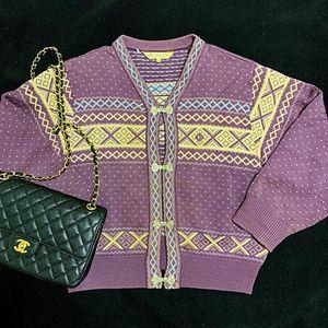 Dior 迪奥香芋紫如意扣重工编织羊毛针织衫