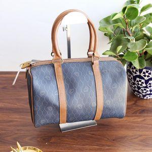 Dior 迪奥ST12012深蓝色pvc质字母印花菱纹中古手提包