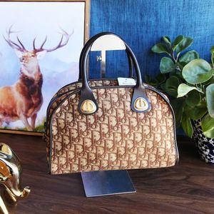 Dior 迪奥ST12028棕色老花猪鼻字母手提包