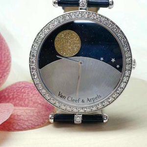 Van Cleef Arpels 梵克雅宝诗艺复杂日月星辰18k白金镶钻石自动机械女表