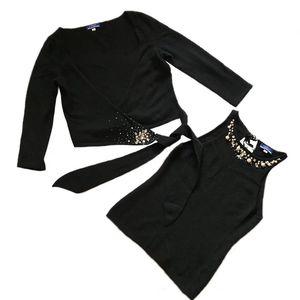 Burberry 博柏利女重工珍珠水钻背心开衫两件套