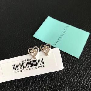 Tiffany & Co. 蒂芙尼绝版925银爱心花耳环
