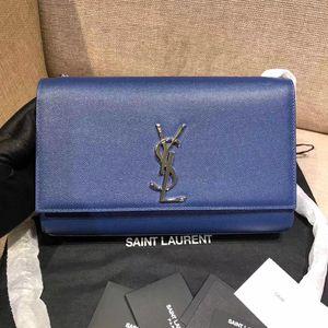 Yves Saint Laurent 伊夫·圣罗兰电光蓝鱼子酱皮斜挎链条单肩包