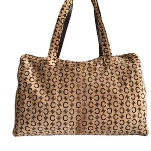 Celine 赛琳咖色logo马毛手提旅行袋