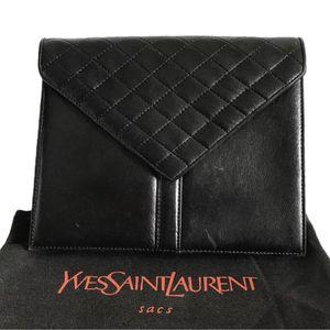 Yves Saint Laurent 伊夫·圣罗兰男女复古黑色菱格手拿包