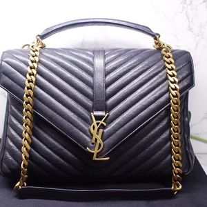 Yves Saint Laurent 伊夫·圣罗兰经典款黑色牛皮金扣V纹手提包