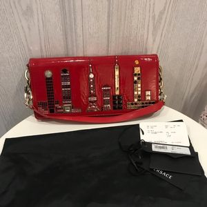 Versace 范思哲正红色限量款两用手拿单肩包