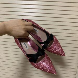 Miu Miu 缪缪亮片低跟鞋