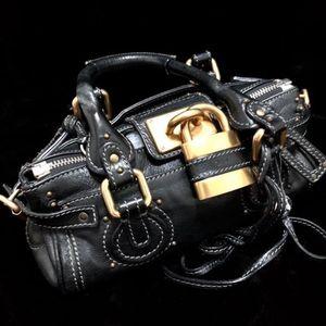 Chloé 蔻依黑金mini经典锁头机车手提包