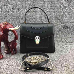 BVLGARI 宝格丽珐琅蛇头风琴女士单肩手提包
