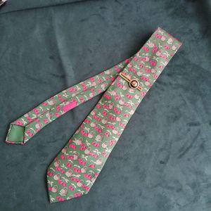 Hermès 爱马仕LD04009男士重磅真丝春日樱桃印花时尚领带