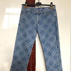 Burberry 博柏利磨毛格子9分牛仔裤