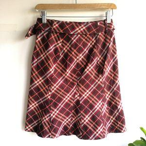 Burberry 博柏利YF04021深莓红大格纹半身裙