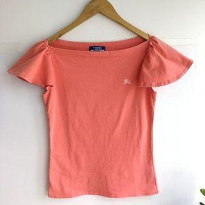 Burberry 博柏利YF04010桔粉一字领小飞袖针织T恤