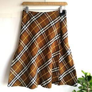 Burberry 博柏利YF04026茶米大格纹半身裙