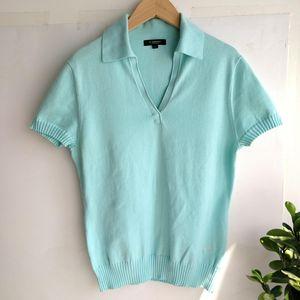 Burberry 博柏利V领YF04001水蓝针织Polo衫