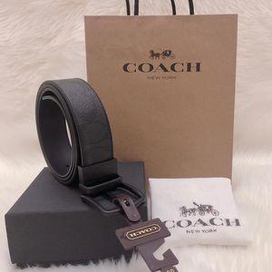 COACH 蔻驰加宽版双面磨砂旋转头礼盒套装腰带