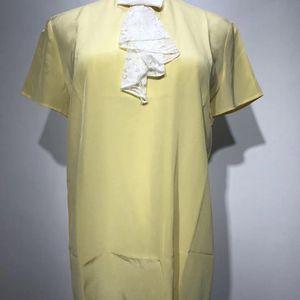 Miu Miu 缪缪女士黄色真丝短袖上衣 42
