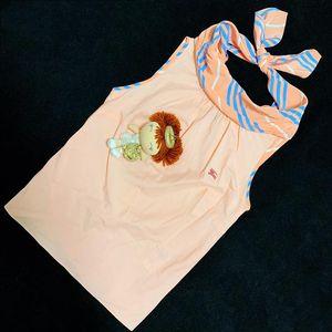 Burberry 博柏利裸粉色条纹盆领名媛坎袖上衣