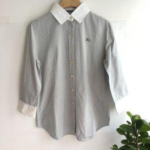 Burberry 博柏利 YF04008灰细格子七分袖衬衫