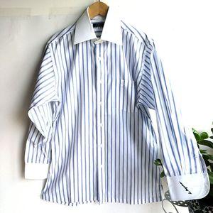 Burberry 博柏利YF04018蓝白宽条纹白领长袖衬衫
